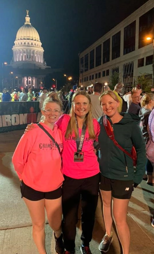 Ironman finisher Christine Kachlemuss (center) with Grim Reaper Fitness teammates Lauri Meins and Julie Zei